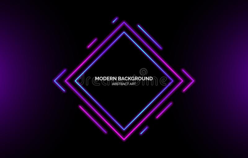 Neon gradient rhombus elements background, banner for presentation, landing page, web site. royalty free illustration