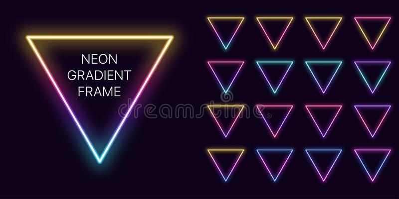 Neon gradient triangle Frame with copy space. Templates set of Neon gradient triangular Border vector illustration