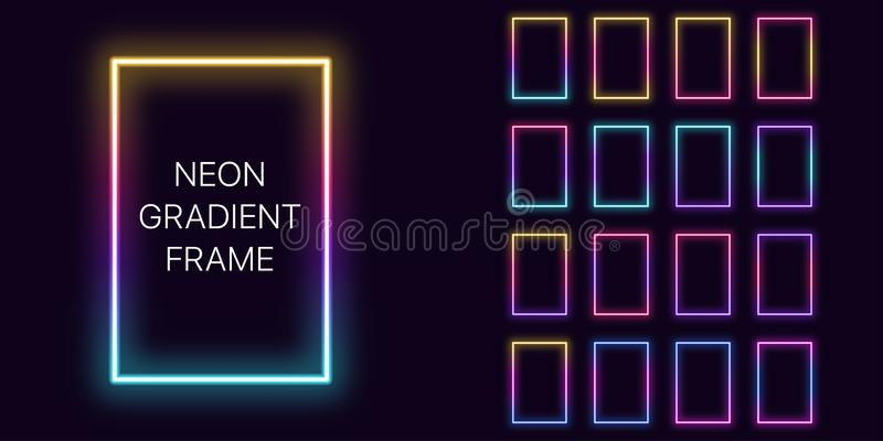 Neon gradient vertical rectangle Frame with copy space. Templates set of Neon gradient rectangular Border vector illustration