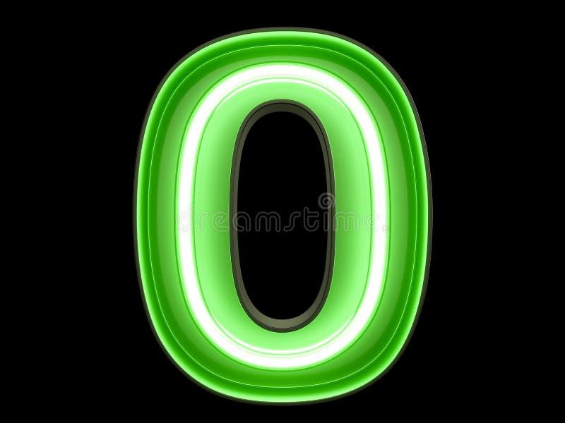 Neon green light digit alphabet character 0 zero null font. Neon green light glowing digit alphabet character 0 zero null font. Front view illuminated number 0 stock illustration