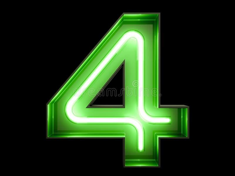 Neon Green Light Digit Alphabet Character 4 Four Font Stock