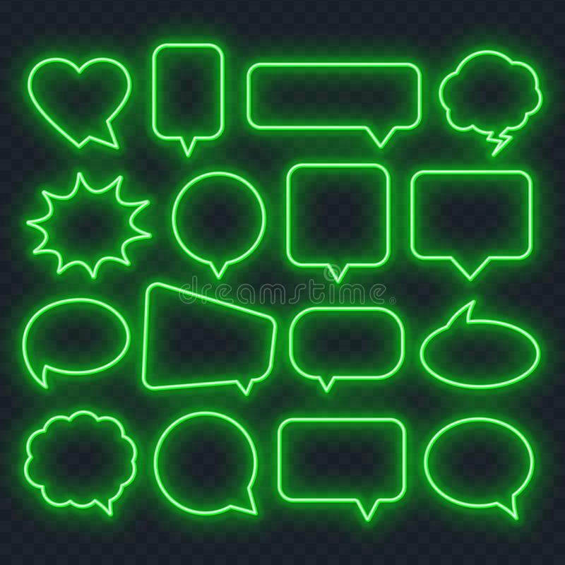 Neon green speech bubble frame on a transparent background. Bright light frames for quotes and text stock illustration