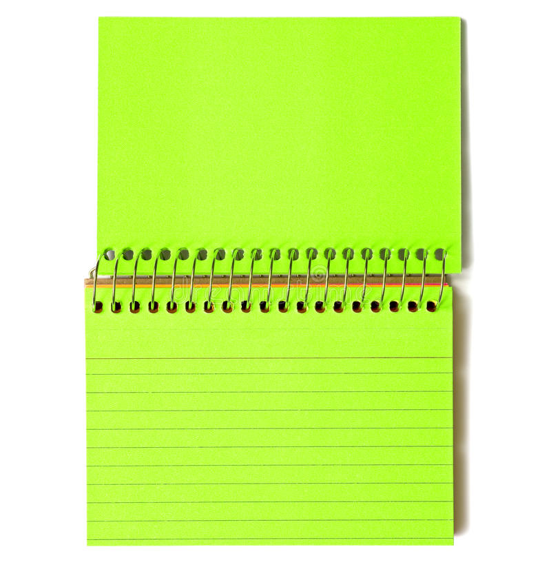 Neon Green Spiral-Bound Note Cards. Neon green spiral bound lined note cards on a white background stock image