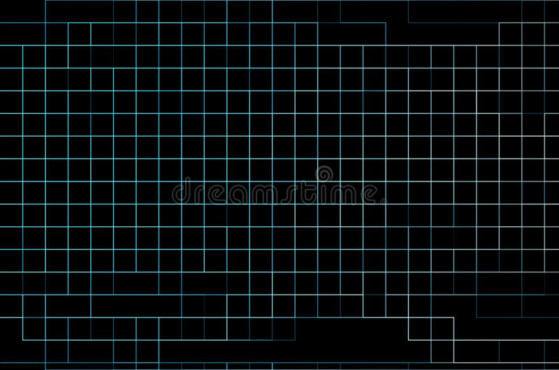 Abstract Thin Blue Neon Grid On Black Background