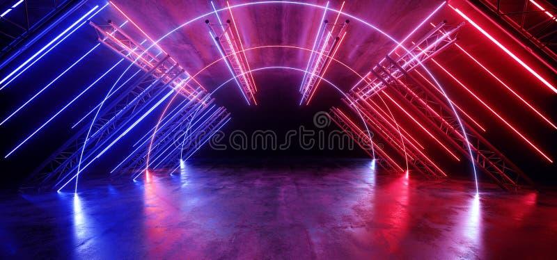 Neon Grunge en béton bleu rouge vibre Sci Fi futuriste Stade futuriste Construction du podium triangle métallique Grunge en béton illustration libre de droits