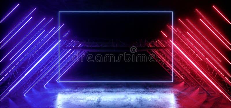 Neon Grunge en béton rouge Violet vibre Sci Fi futuriste Stade futuriste Construction du podium triangle métallique Grunge en bét illustration libre de droits
