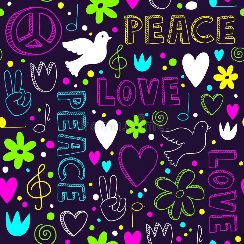 Neon hand-drawn naadloos patroon met symbolen van vrede royalty-vrije illustratie