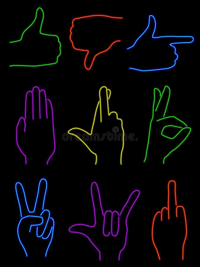 Neon Hands. Set on nine hand gestures rendered in neon stock illustration