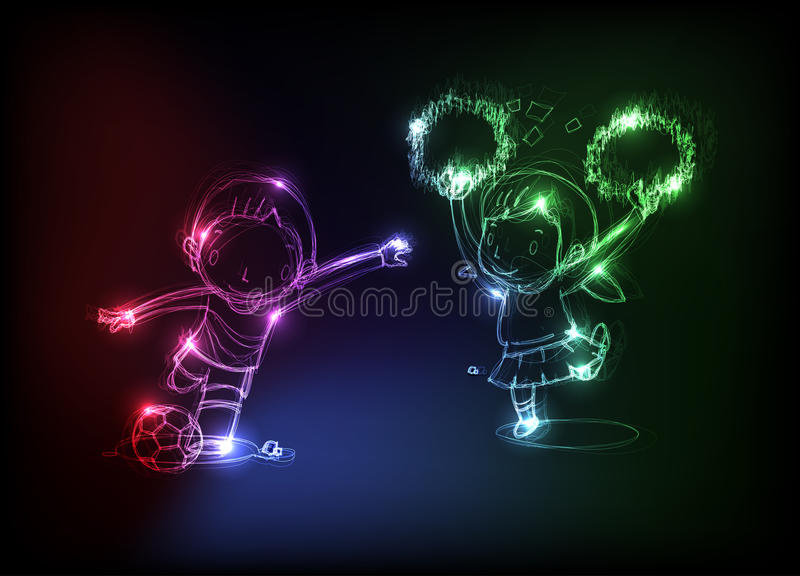 Neon happy child royalty free illustration