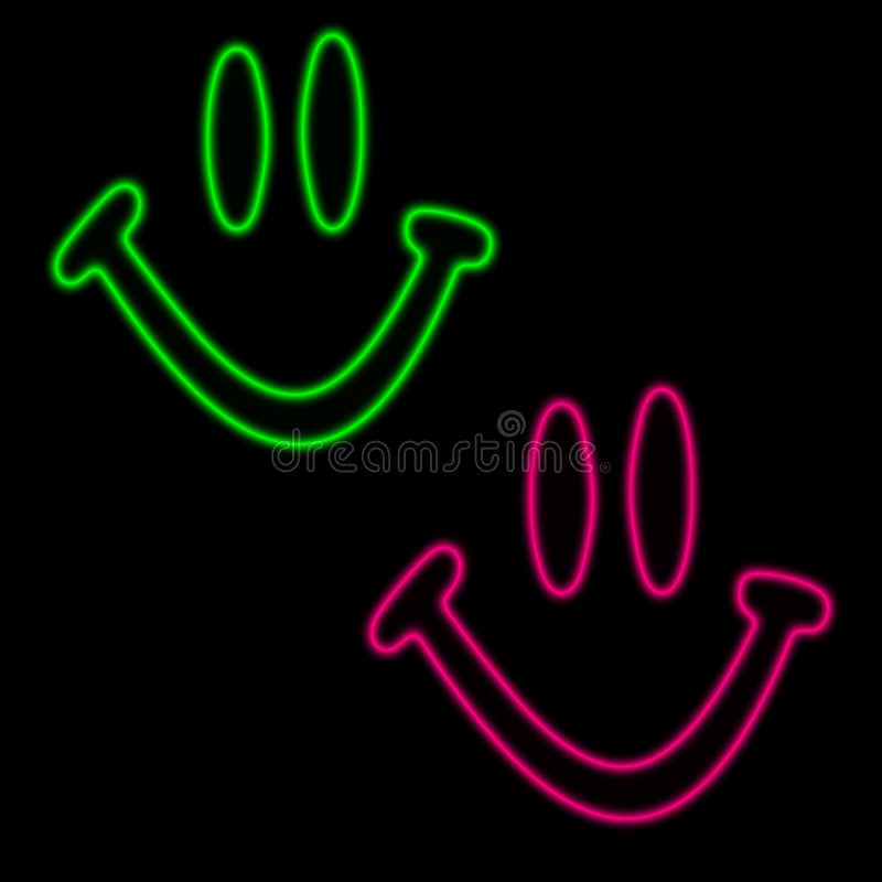 Download Neon happy faces stock illustration. Image of smiley, green - 256328