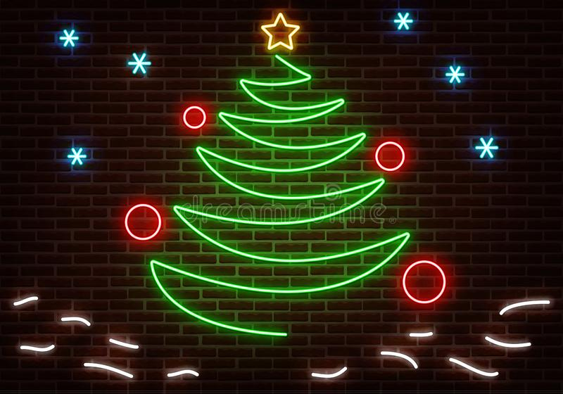 Neon Happy New Year light. Party sign light vector isolated on dark red brick wall. Christmas tree, vector illustration