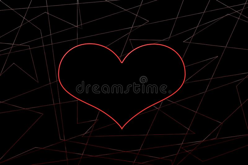 Neon heart on the background of dark abstraction stock illustration
