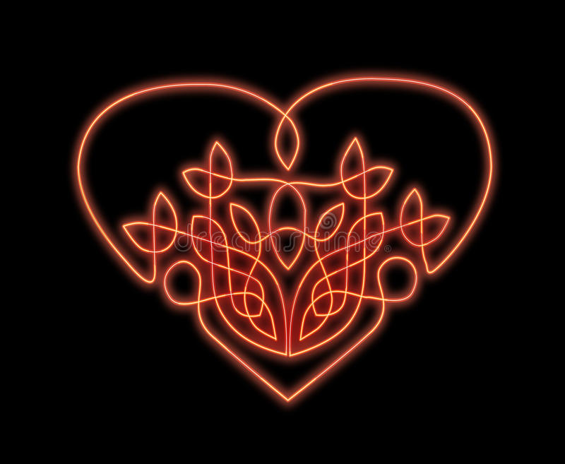 Neon heart in celtic style. Celtic style heart glowing red like a neon sign royalty free illustration