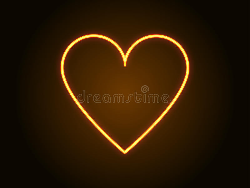 Neon heart sign yellow color. Vector stock illustration