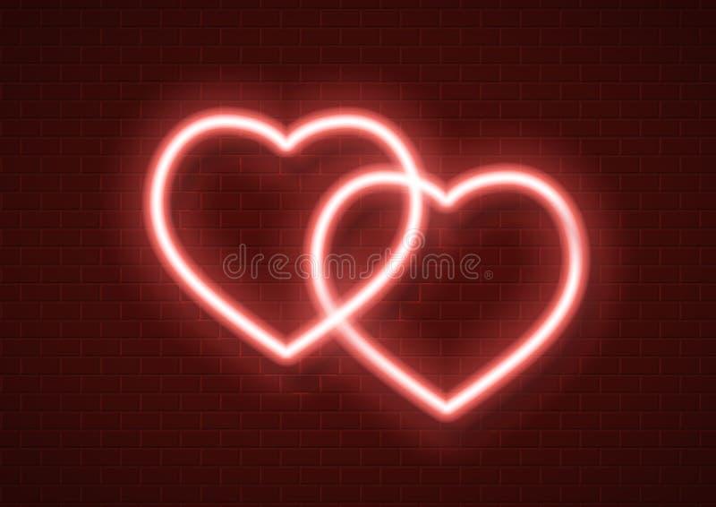 Vector neon hearts icon sign illustration royalty free illustration