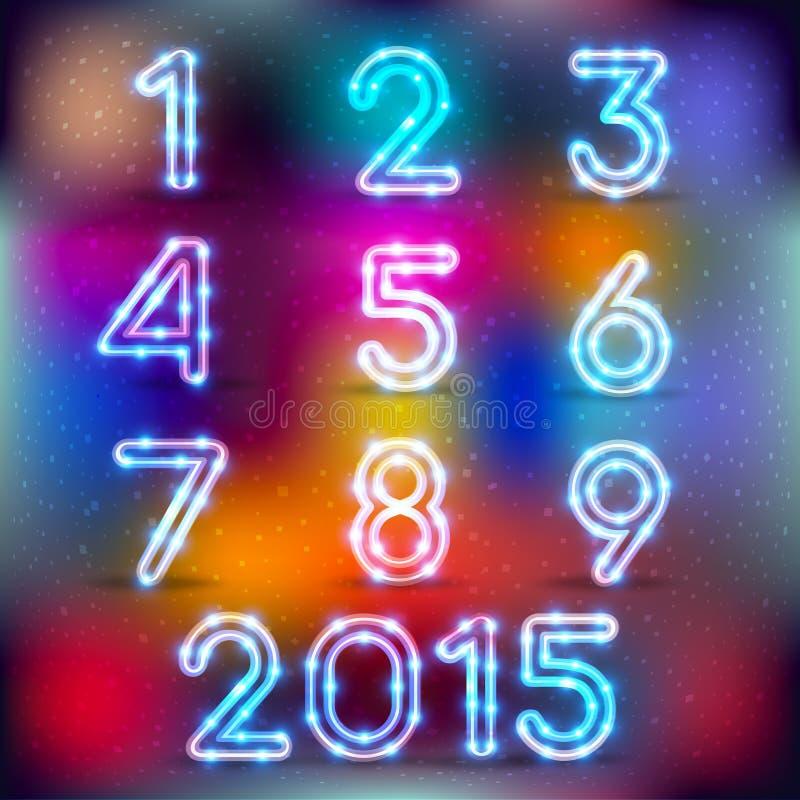 Neon het gloeien reeks aantallen royalty-vrije illustratie