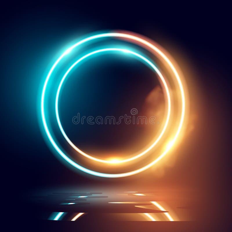 Neon het Gloeien Verlichting en Rooklijnen royalty-vrije illustratie