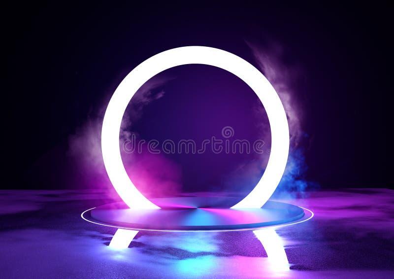 Neon het Gloeiende Lijn Stadium en Aansteken stock illustratie