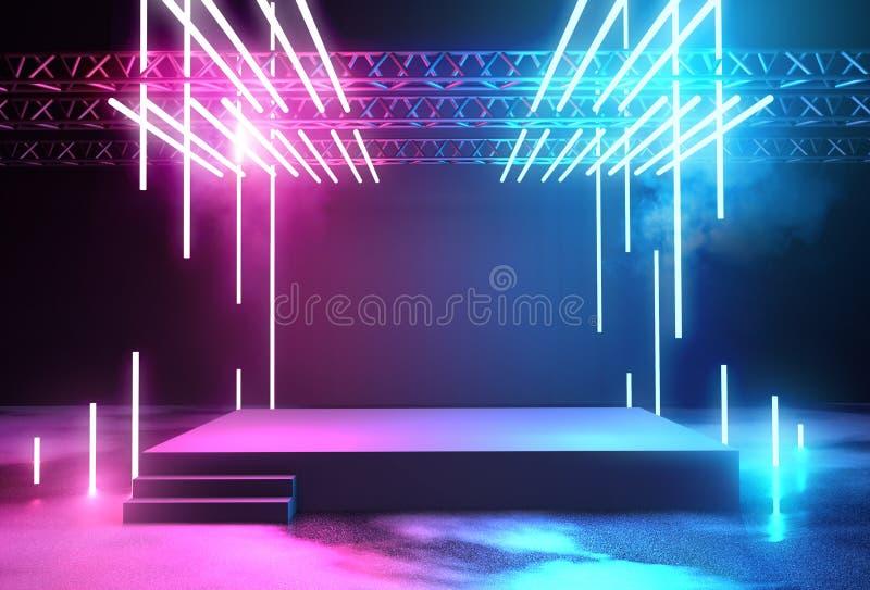 Neon het Gloeiende Stadium en Aansteken royalty-vrije illustratie
