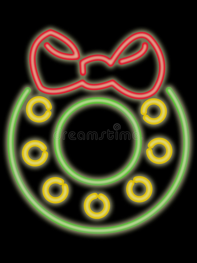 Neon Holiday Wreath Stock Photography