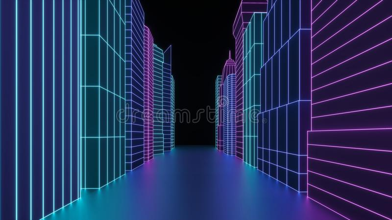 Neon hologram the city skyscrapers. Futuristic render 3d city street in neon light. Digital cityscape in a cyber world. royalty free stock photos