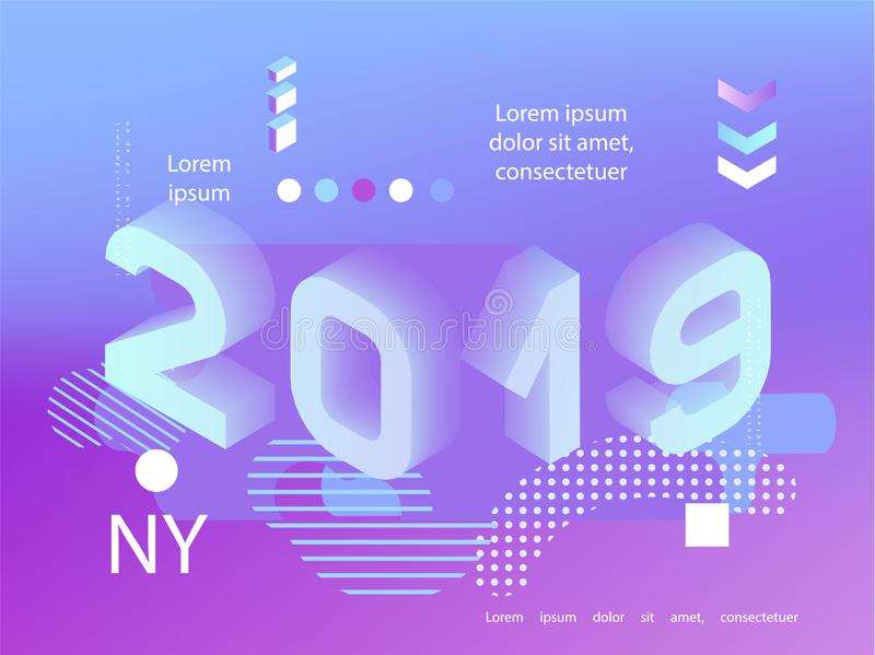 2019 neon holographic Memphis style. Banner with 2019 Numbers. Vector New Year illustration.  stock illustration