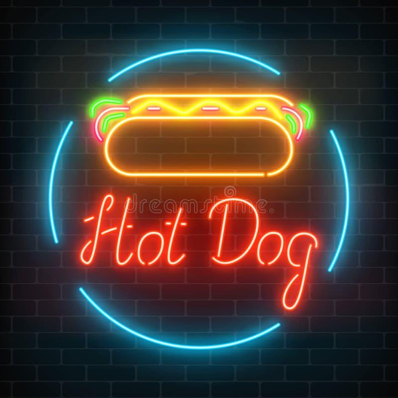 Neon hot dog cafe glowing signboard on a dark brick wall background. Fastfood light billboard sign. Vector illustration royalty free illustration