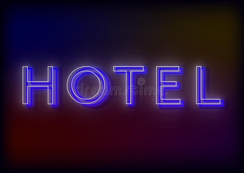 Neon hotel. Hotel neon sign, design for your. Business. Bright attracts the attention of a luminous sign saying - Hotel vector illustration