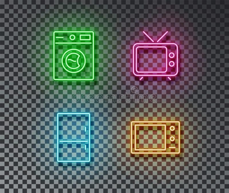 Neon house device signs vector isolated on brick wall. Wash machine, fridge, microwave, tv light sym. Bol, decoration effect. Neon devices illustration stock illustration
