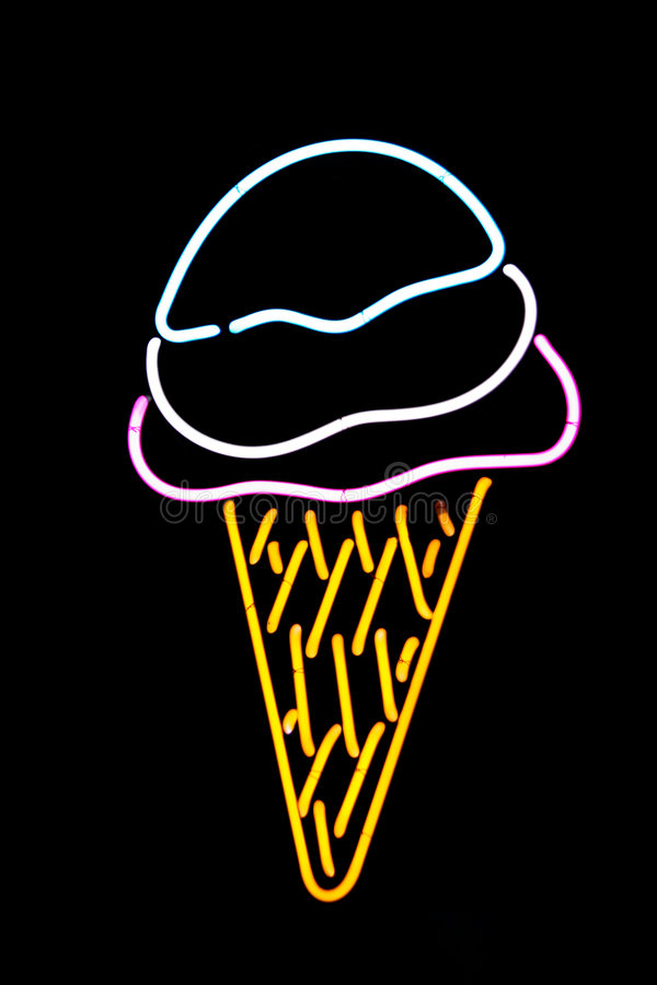 Neon Ice Cream Cone stock image