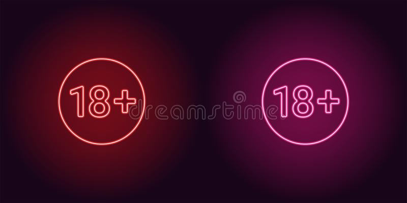 Neon icon of Age limit for Under 18 vector illustration
