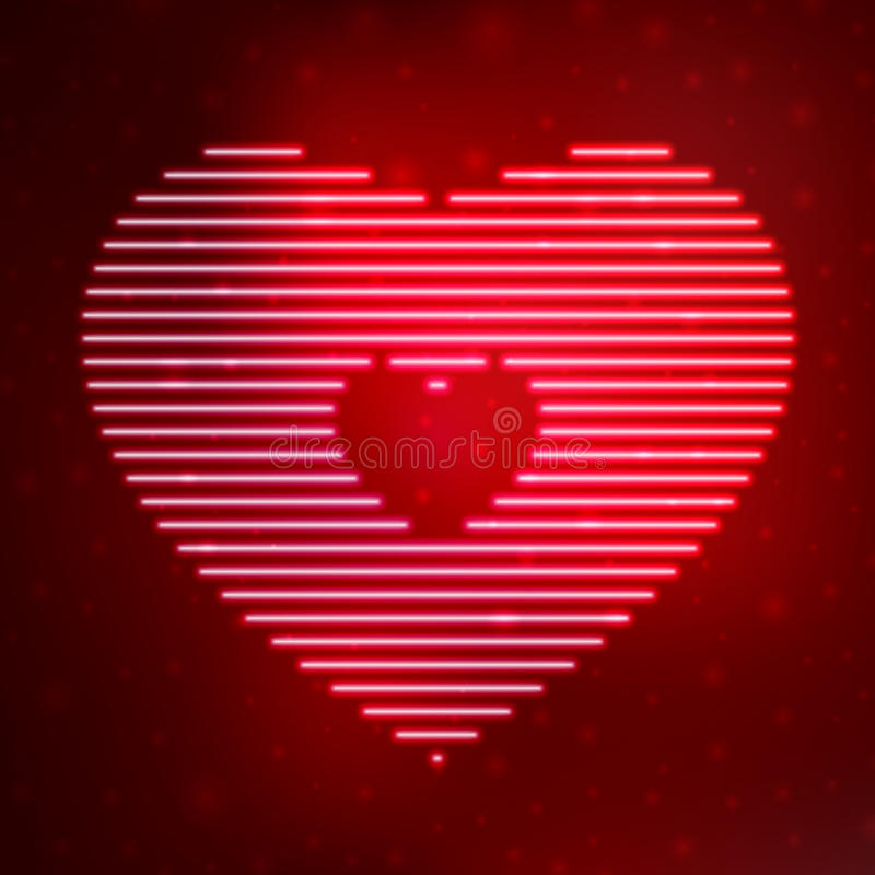 Neon icon heart. On red background. Vector illustration template royalty free illustration