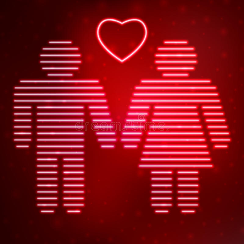 Neon icon love couple. On red background. Vector illustration template royalty free illustration