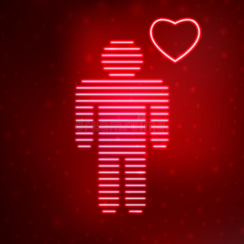 Neon icon love man. On red background. Vector illustration template royalty free illustration