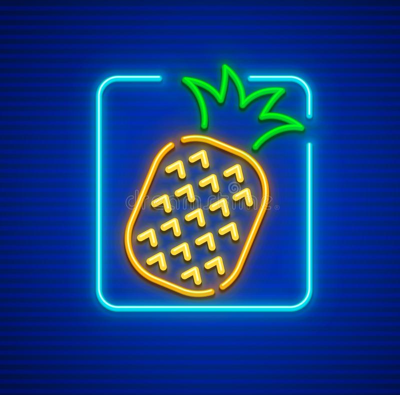 Neon icon of pineapple ripe tropical fruit stock illustration