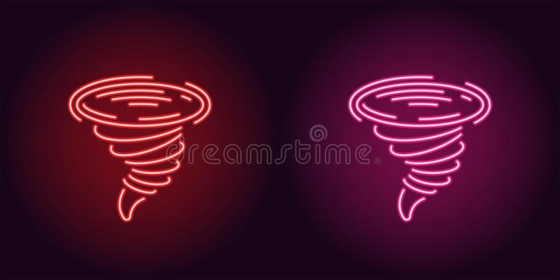 Neon icon of Red and Pink Tornado royalty free illustration