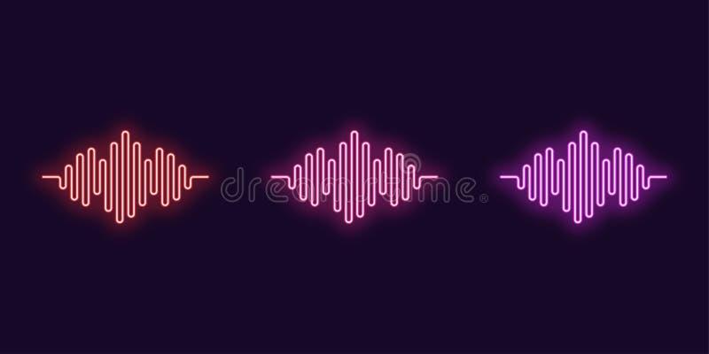 Neon icon Set of Digital sound wave. Vector shape stock illustration