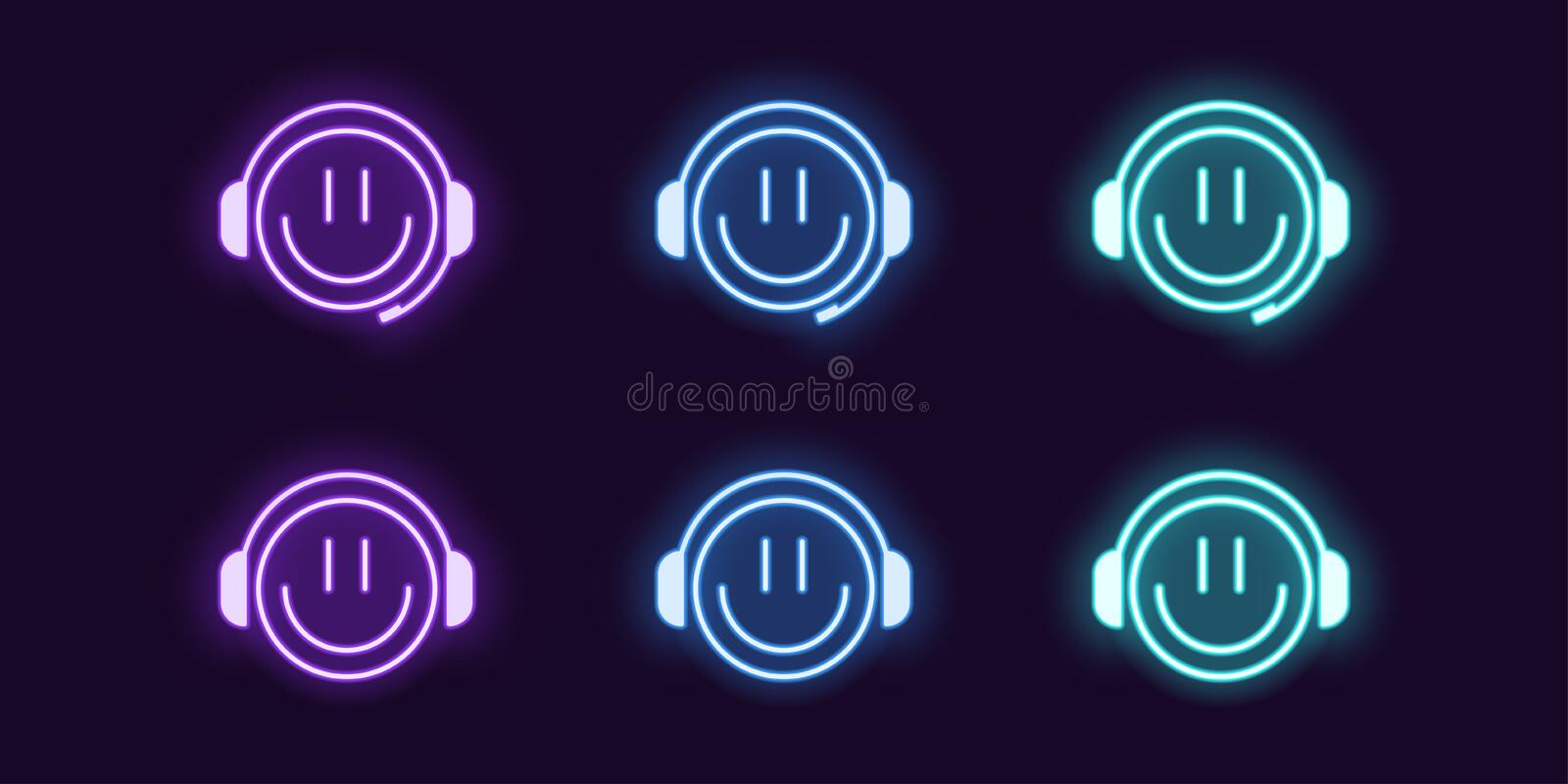 Neon icon set of emoji Gamer with Headphones. Neon icon set of emoji Gamer with Smile and Headphones. Glowing Neon Gamer or chat Bot or Dj, vector illustration stock illustration