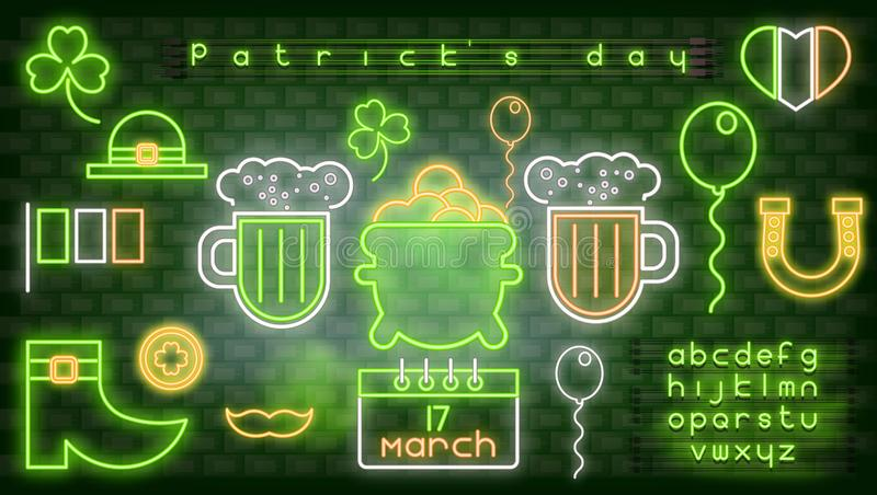 Neon Icons for Patrick`s Day vector illustration