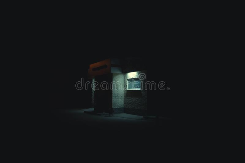 Neon industrial building night royalty free stock photo