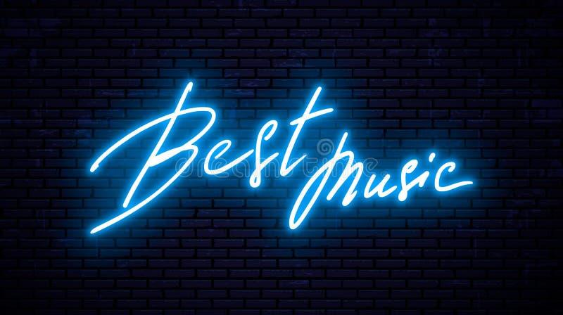 Neon inscription, Best music vector illustration