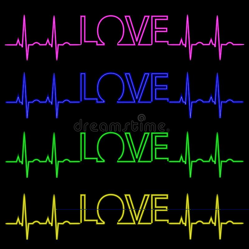 Neon inscription I love you with a pulse. Vector set stock illustration
