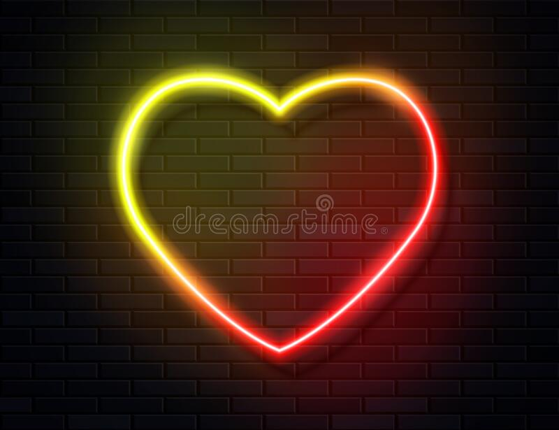 Neon Iridescent Glowing Heart Banner On Dark Empty Grunge Brick Background Stock Vector Illustration Of Lamp Frame 180104054