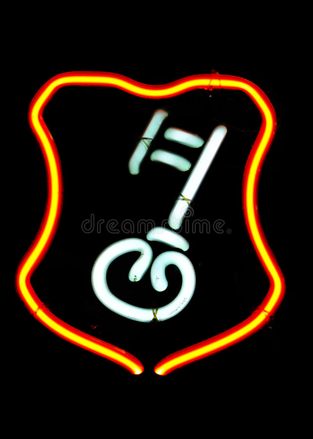 Neon Key Shaped Sign Stock Photos
