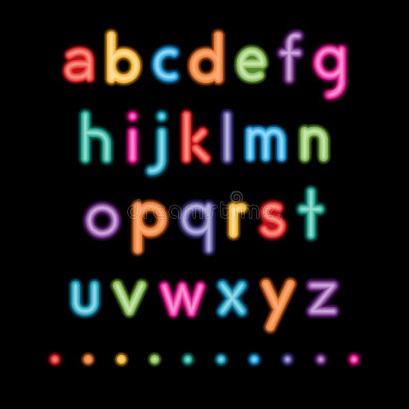 Neon kleine alfabetten royalty-vrije illustratie