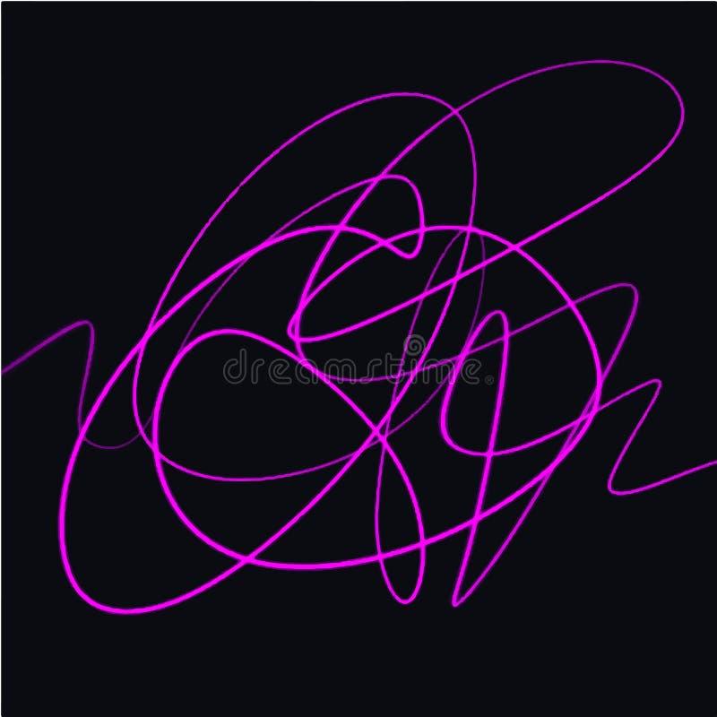 Neon klottrar skissar objekt Vågvibrationslinjer som isoleras på mörk bakgrund vektor illustrationer
