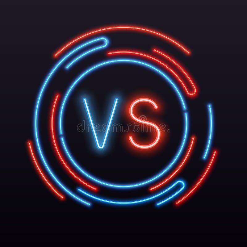 Neon kontra VS symbol in i runt tecken Symbol för vektor för konfrontationkampstrid stock illustrationer