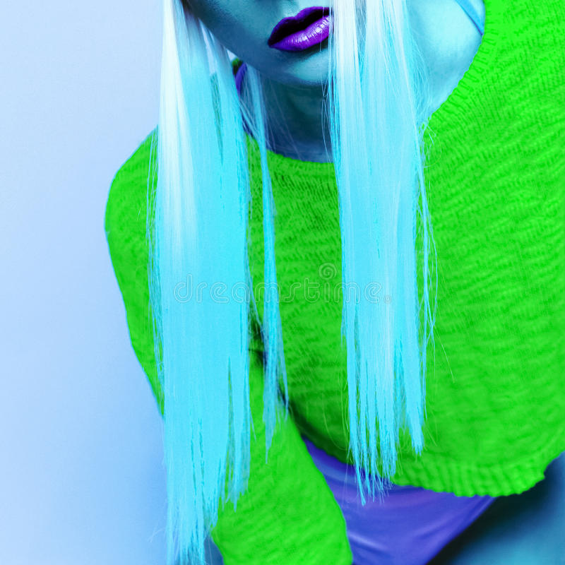 Neon lady style. Acid club party.  royalty free stock photos