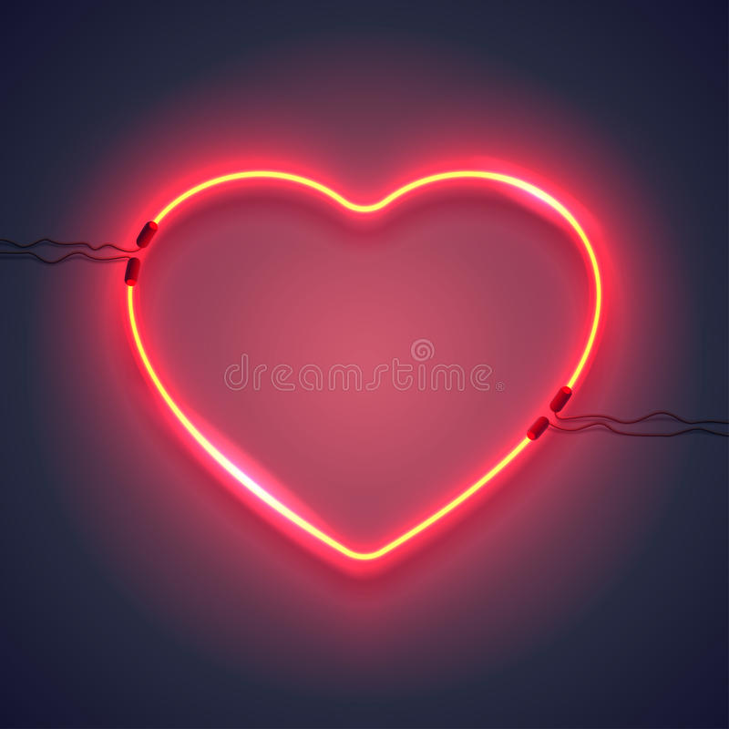 Neon lamp heart-01. Bright heart. Neon sign. Retro neon heart sign on purple background. Design element for Happy Valentine`s Day. Ready for your design stock illustration