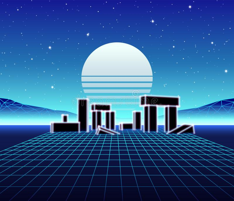 Neon landscape with 80s retro wave game style. Neon grid landscape with 80s retro wave game style, ancient stone ruins with neon lights and sun for party posters royalty free illustration